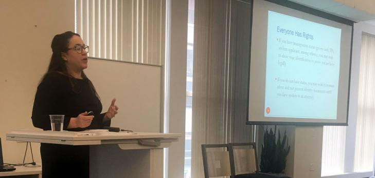 Asylum and immigrant rights organization presented on current legal landscape, rights, and resources for immigrants and supporters.